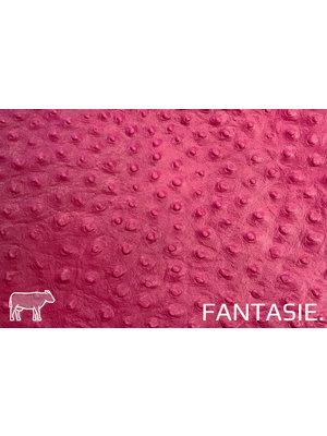 Fantasie Zuurstok roze leder met struisvogelprint
