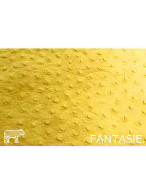 Fantasie Geel leder met struisvogelprint