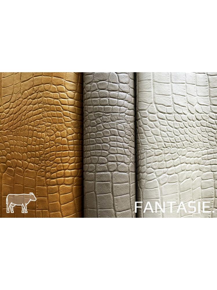 Fantasie Taupe kleur leder met kroko-print (Uitverkocht)