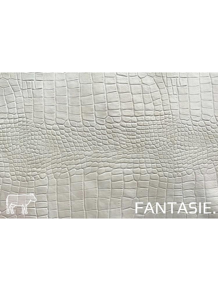Fantasie Zand-kleur leder met kroko-print