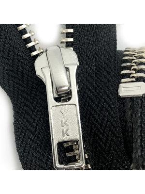 YKK Metalen rits #5 Zilver, Zwart, geremd (diverse lengtes) - Zwart 580