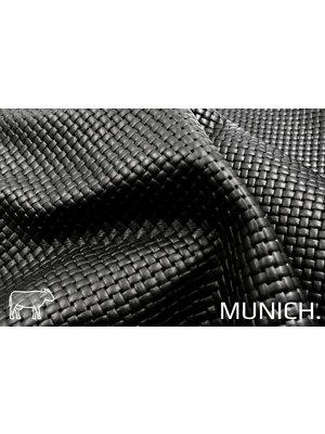 Munich Zwart Leder met vlecht-print