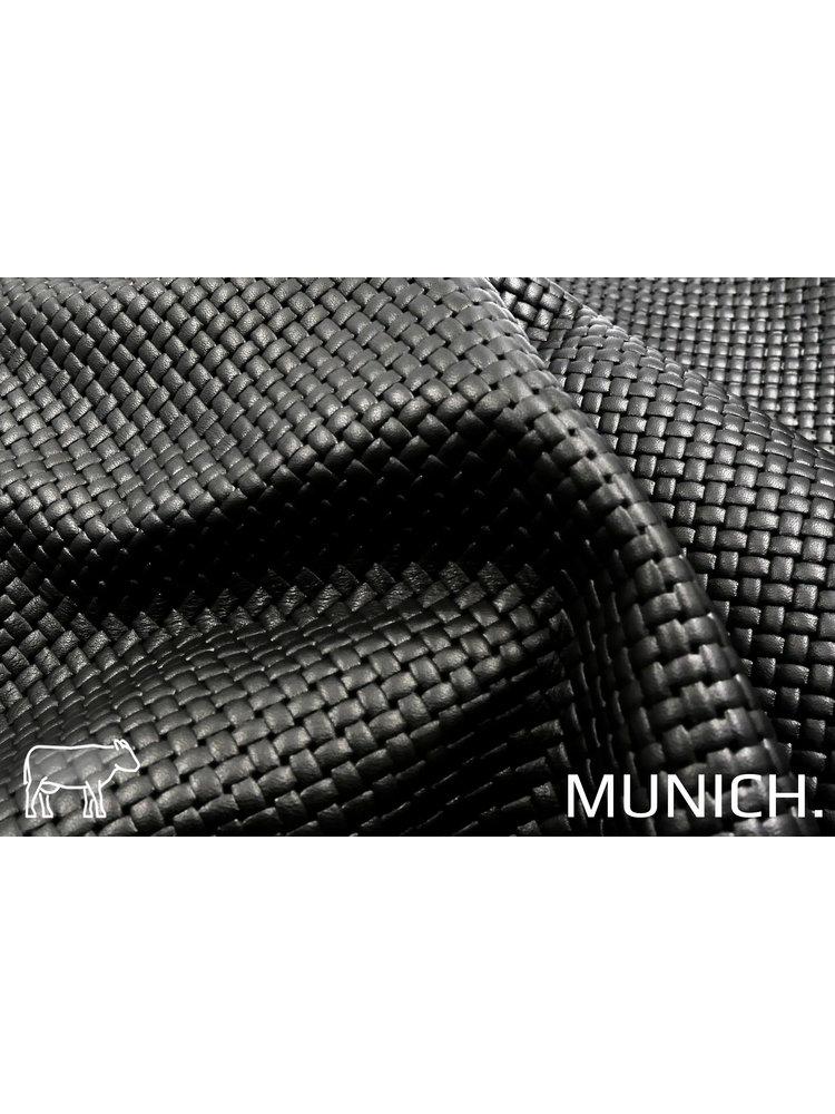 Munich Zwart Leder met vlecht-print (aniline looiing)
