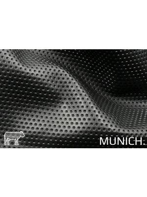 Munich Zwart Leder met Perforatie-print (aniline looiing)