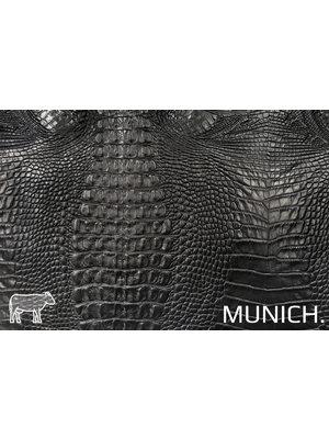 Munich Zwart Leder met kroko-print (aniline looiing)