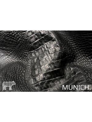 Munich Zwart Leder met kroko-print