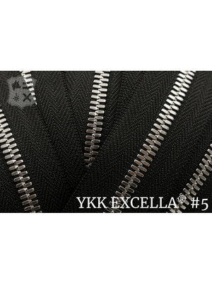 YKK Excella® Excella® #5 Zilver van de rol - zwart (580)