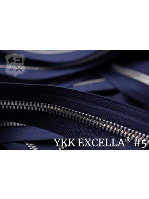 YKK Excella® Excella® #5 Zilver van de rol - Donkerblauw (058). Per Meter