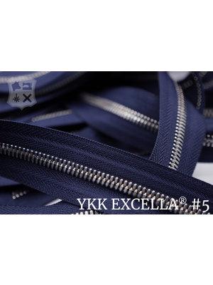 YKK Excella® Excella® #5 Zilver van de rol - (K16:  Marine blauw 058)