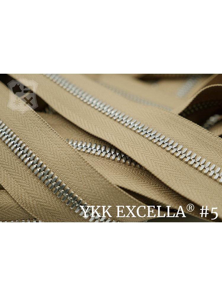 YKK Excella® Excella® #5 Zilver van de rol - Camel (007). Per Meter