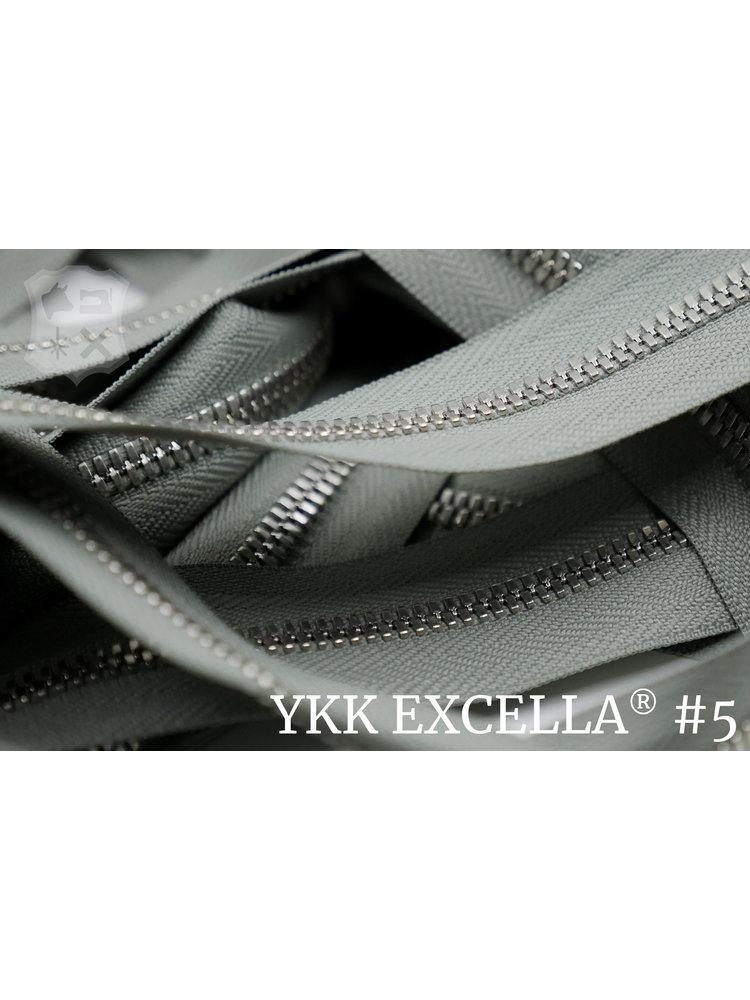 YKK Excella® Excella® #5 Zilver van de rol - Parel grijs (577). Per Meter