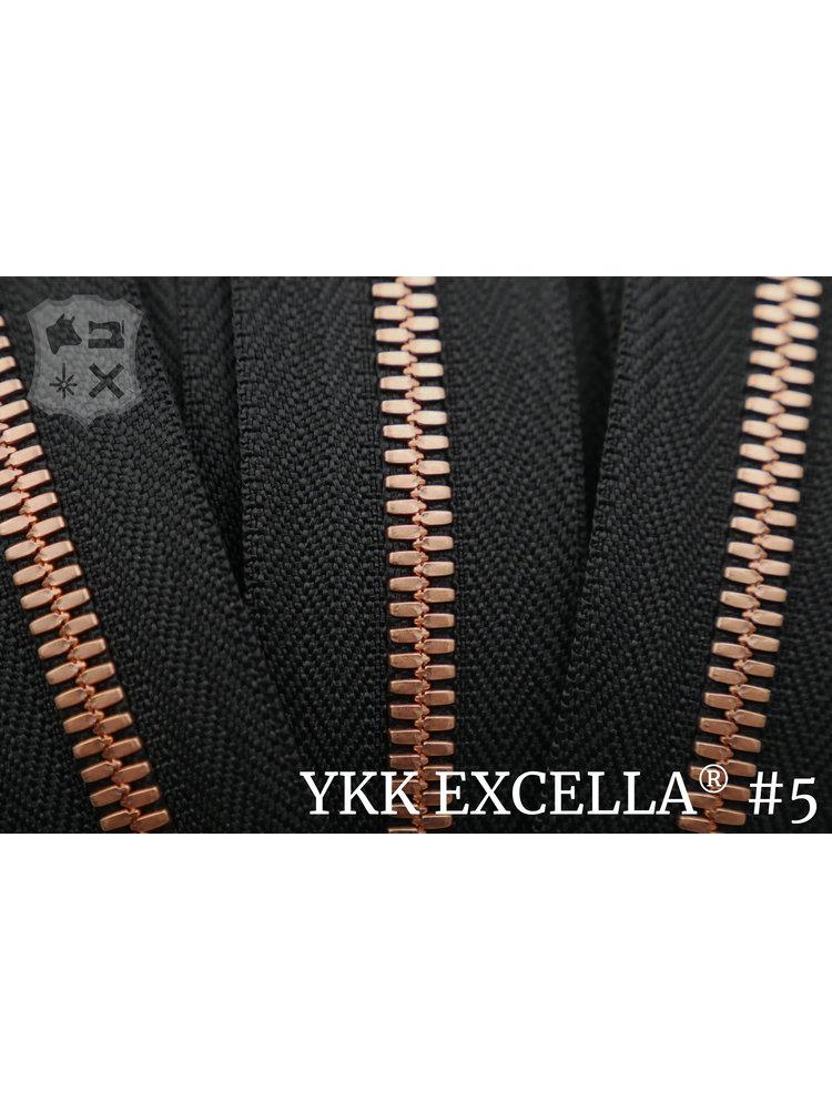 YKK Excella® Excella® #5 Bright Copper van de rol - Zwart (580). Per Meter