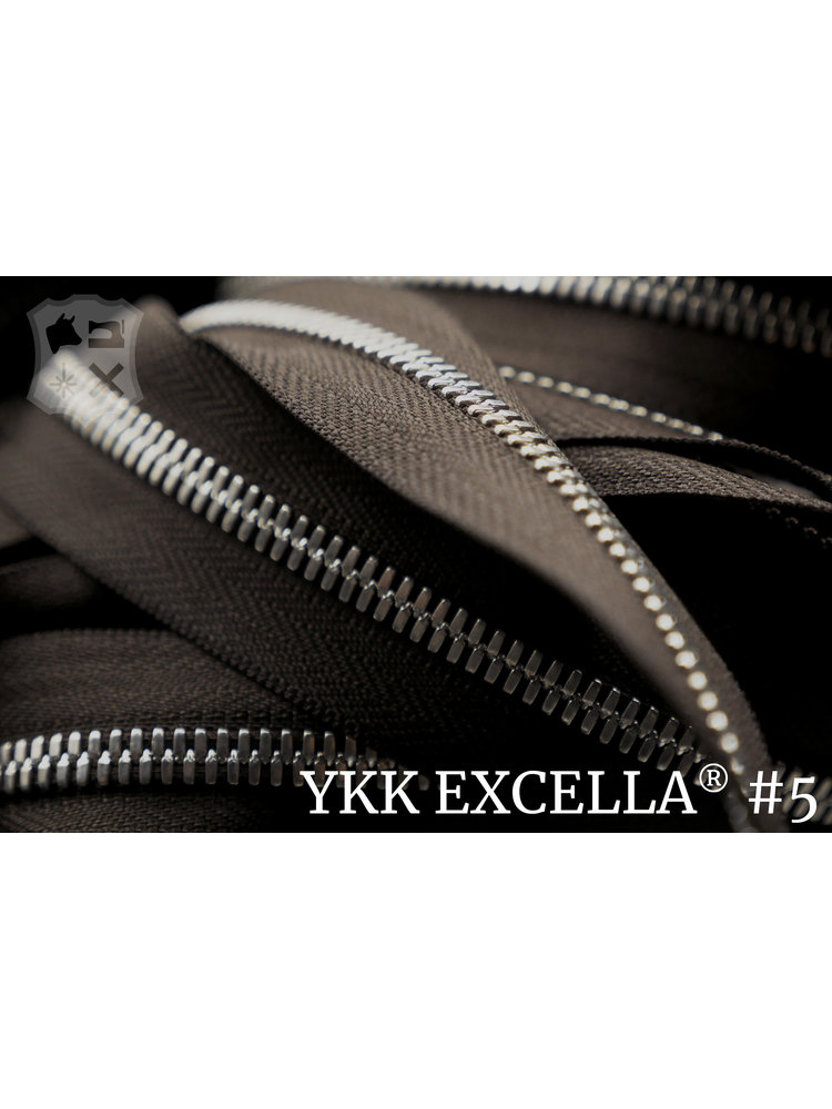 YKK Excella® Excella® #5 Zilver van de rol - Donkerbruin (088). Per Meter