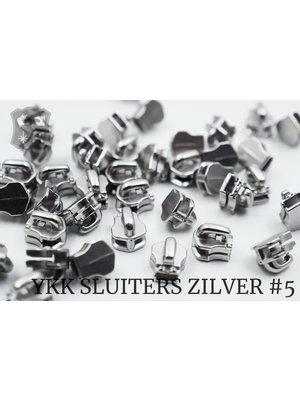 YKK Exclusieve YKK sluiter #5, zilver (5 stuks)