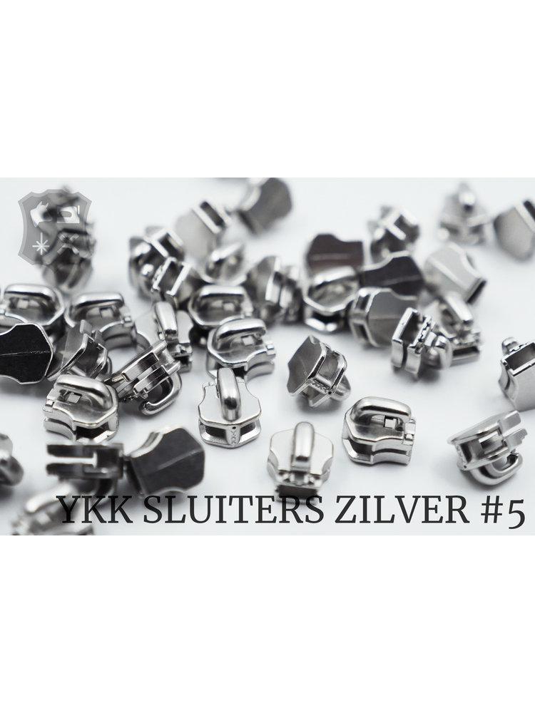 YKK Exclusieve Zilveren YKK sluiters, maat 5, met kliksysteem (5 stuks)