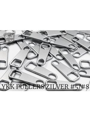 YKK Metaal Klassieke YKK Pullers #5/#8, zilver (5 stuks)