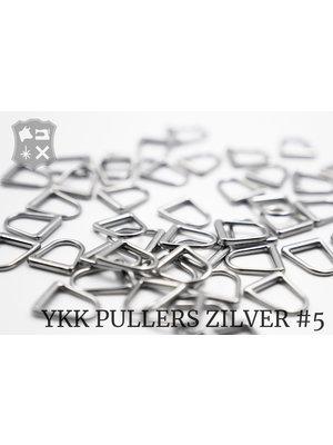 YKK Metaal D-ring YKK Pullers #5, zilver (5 stuks)