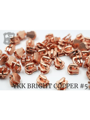 YKK Exclusieve Bright Copper YKK sluiters, maat 5, met kliksysteem (5 stuks)