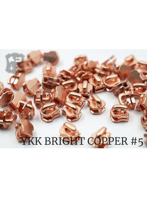 YKK Metaal Exclusieve Bright Copper YKK sluiters, maat 5, met kliksysteem (5 stuks)