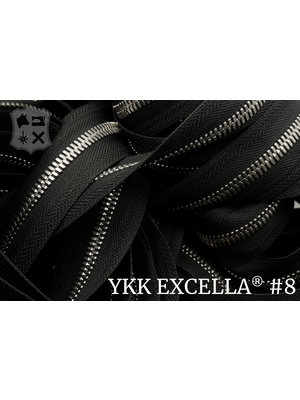 YKK Excella® Excella® #8 Zilver van de rol - (ZA19 - zwart 580)