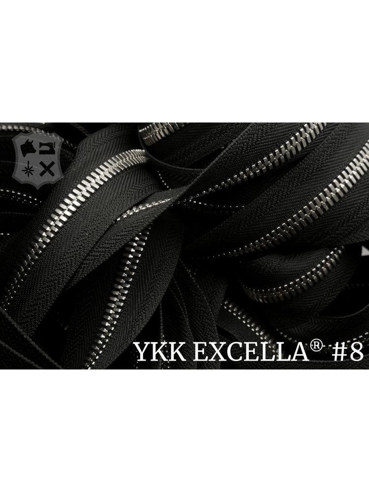 YKK Excella® Excella® #8 Zilver van de rol - zwart (580)