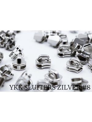 YKK Metaal Exclusieve Zilveren YKK sluiters, maat 8, met kliksysteem (5 stuks)