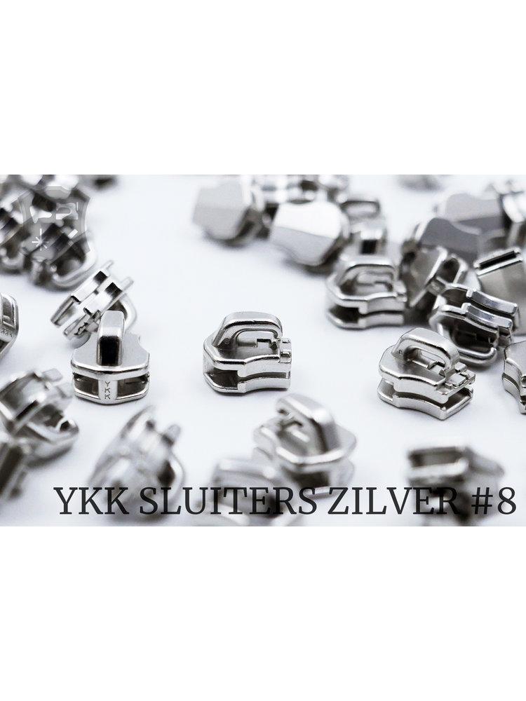 YKK Exclusieve Zilveren YKK sluiters, maat 8, met kliksysteem (5 stuks)
