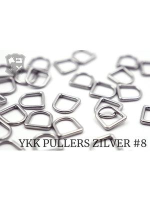 YKK Metaal D-ring Zilveren YKK Rits Pullers, maat 8 (5 stuks)