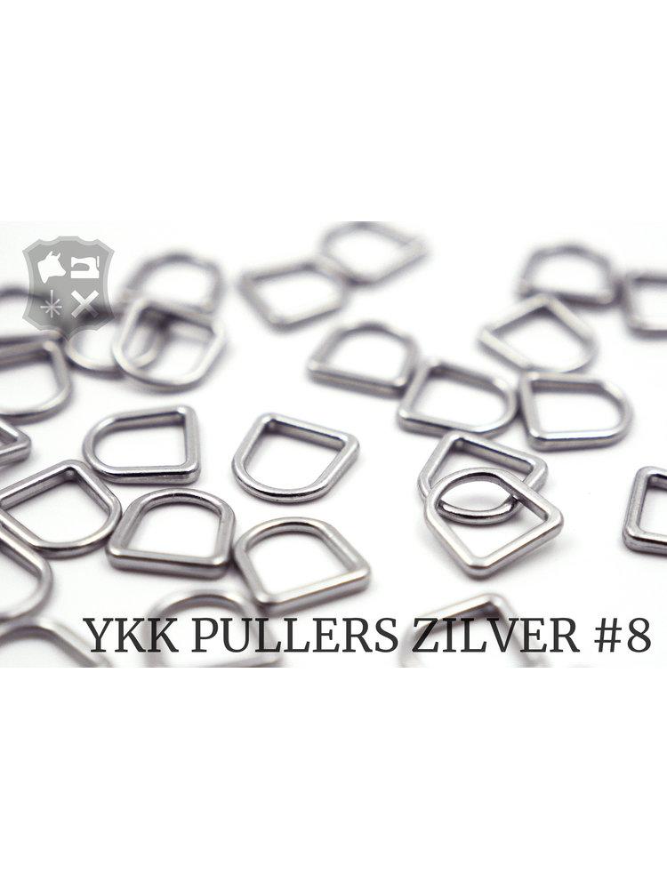 YKK D-ring Zilveren YKK Rits Pullers, maat 8 (5 stuks)