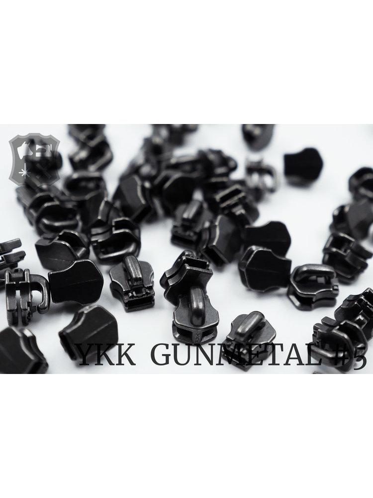 YKK Exclusieve Gunmetal YKK sluiters, maat 5, met kliksysteem (5 stuks)
