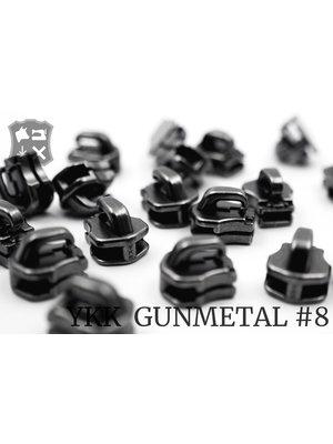 YKK Metaal Exclusieve Gunmetal YKK sluiters, maat 8, met kliksysteem (5 stuks)