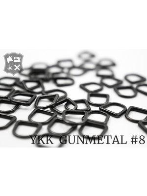 YKK D-ring YKK Pullers #8, gunmetal (5 stuks)