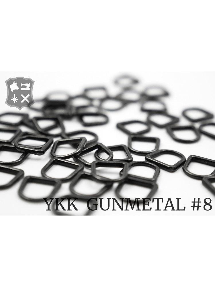 YKK Metaal D-ring Gunmetal YKK Rits Pullers, maat 8 (5 stuks)