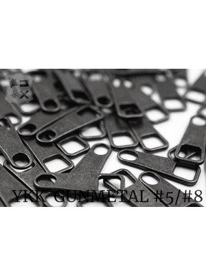 YKK Metaal Klassieke YKK Pullers #5/#8, Gunmetal (5 stuks)