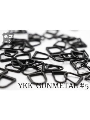 YKK Metaal D-ring YKK Pullers #5, Gunmetal (5 stuks)