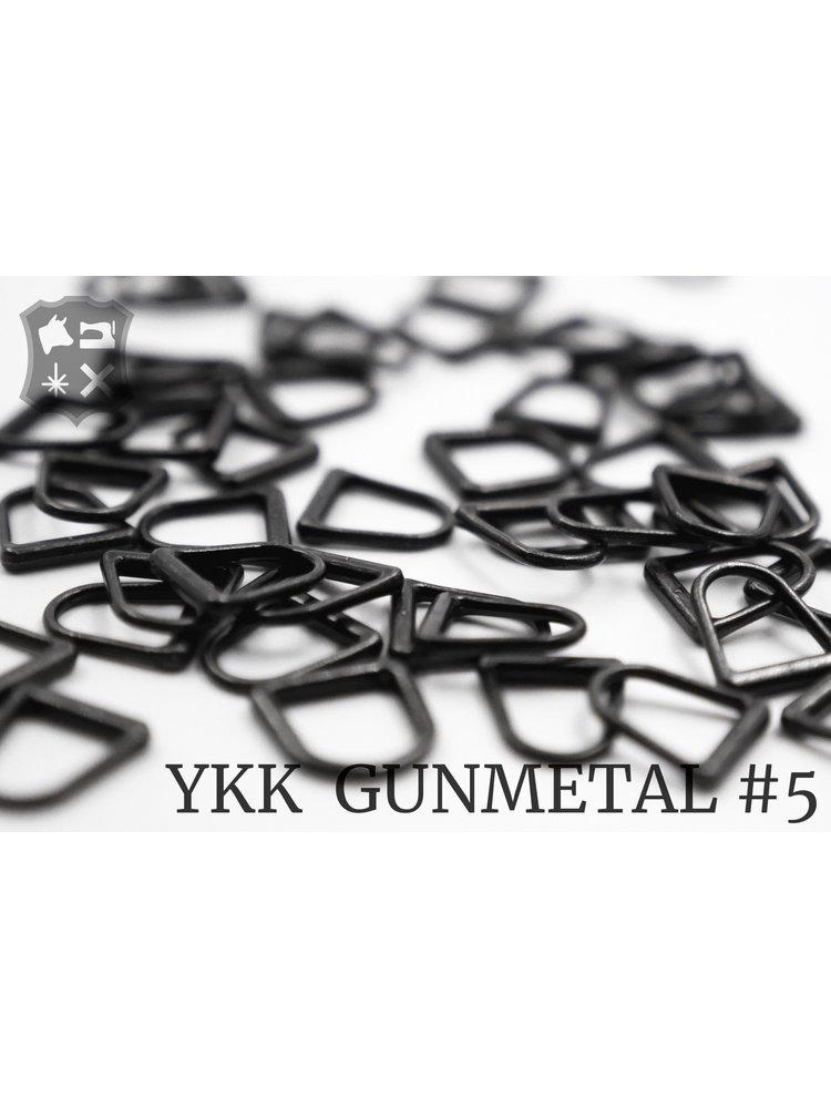YKK Metaal D-ring Gunmetal YKK Rits Pullers (5 stuks)