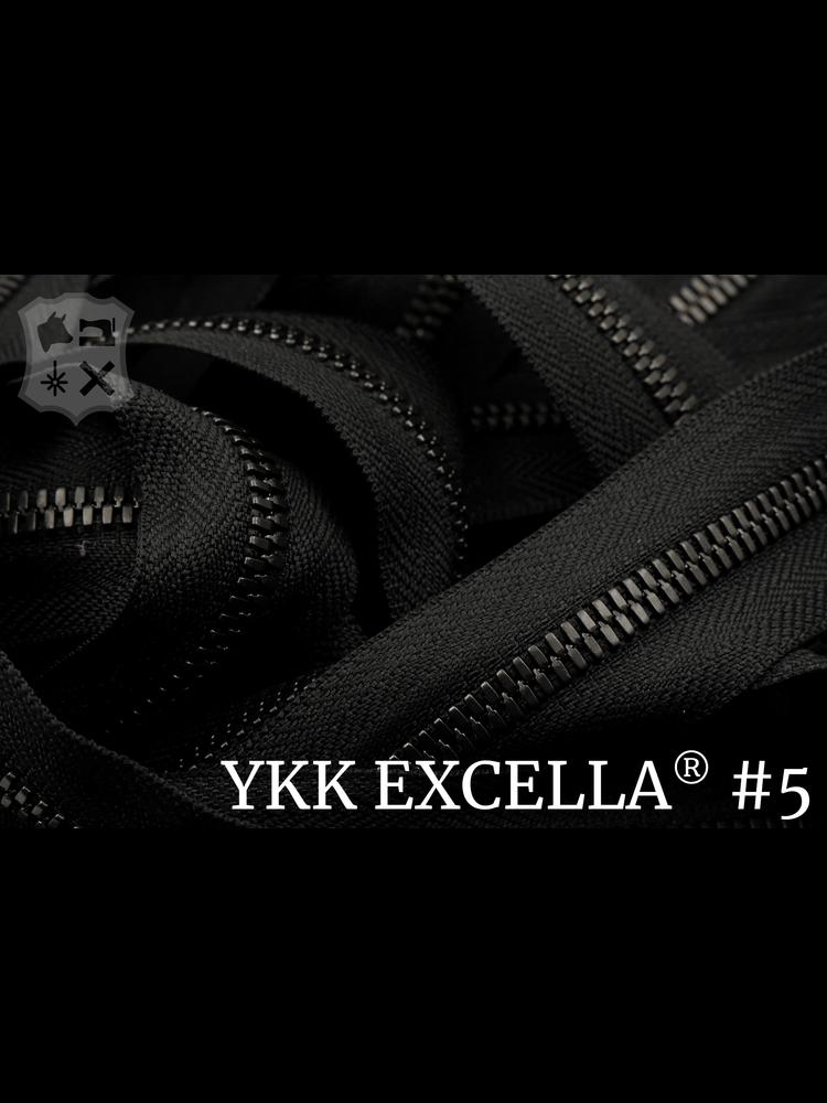 YKK Excella® Excella® #5 Gunmetal van de rol - Zwart (580). Per Meter
