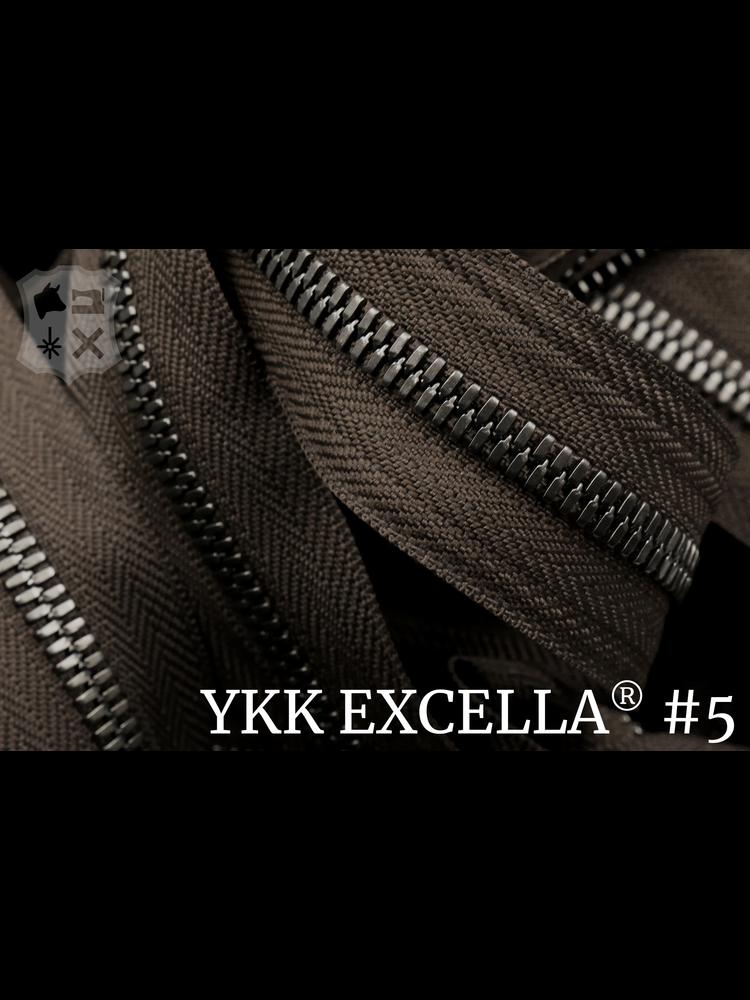 YKK Excella® Excella® #5 Gunmetal van de rol - Donkerbruin (088). Per Meter
