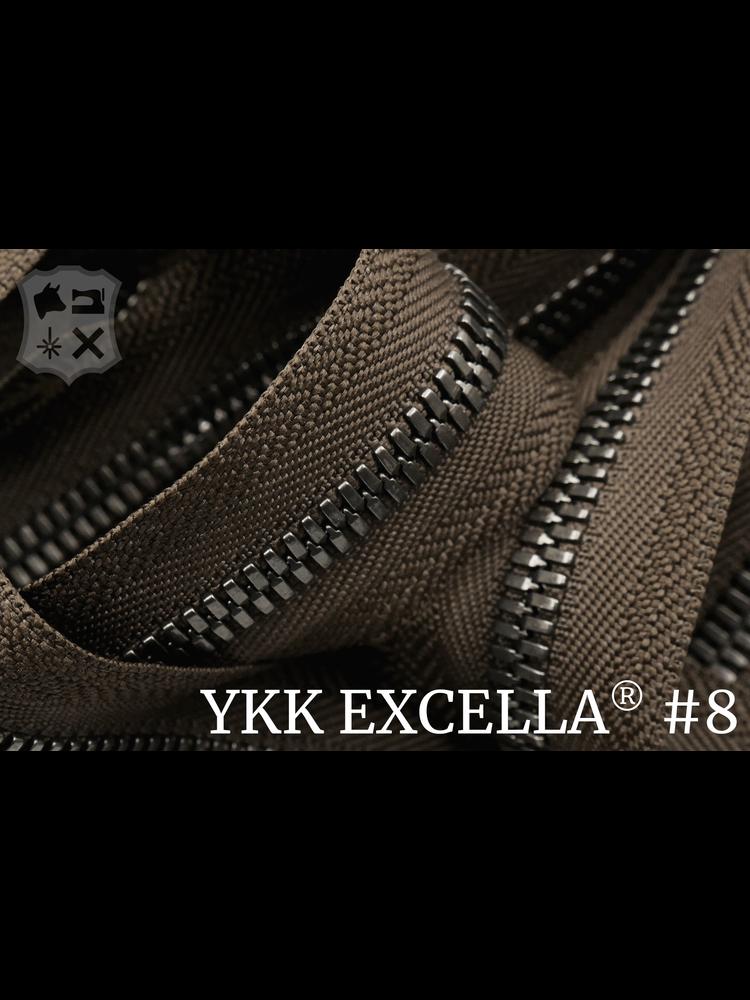 YKK Excella® Excella® #8 Gunmetal van de rol - Donkerbruin (088). Per Meter