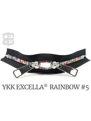 YKK Excella® YKK Excella Rits #5 Rainbow op maat (dubbel / head-to-head)