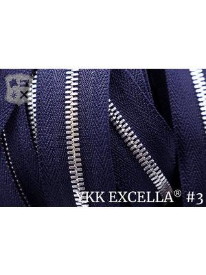YKK Excella® Excella® #3 Zilver van de rol - Donkerblauw (058). Per Meter