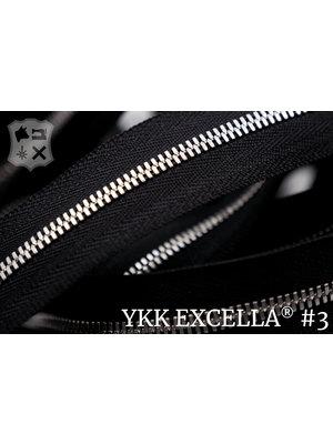 YKK Excella® Excella® #3 Zilver van de rol - (ZA19 - zwart 580)