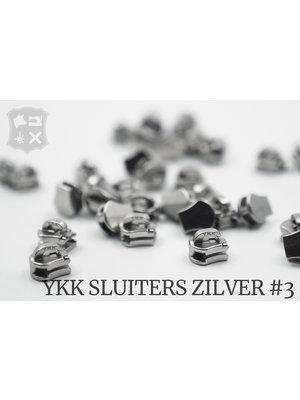 YKK Exclusieve Zilveren YKK sluiters, maat 3, met kliksysteem (5 stuks)