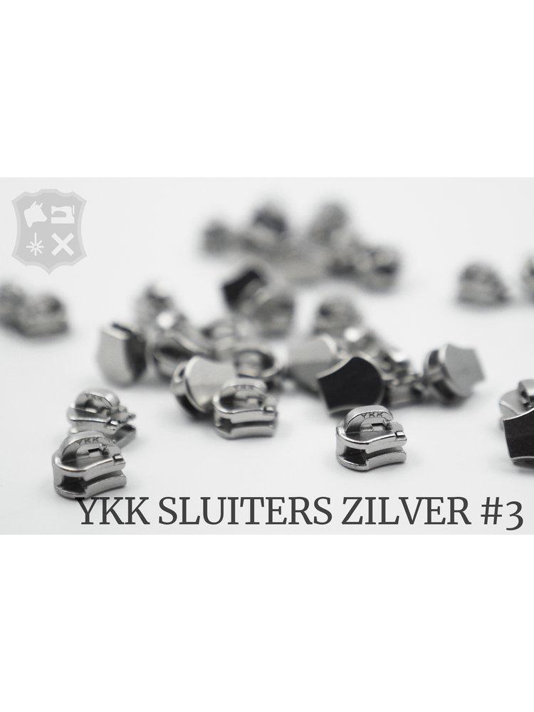 YKK Metaal Exclusieve Zilveren YKK sluiters, maat 3, met kliksysteem (5 stuks)