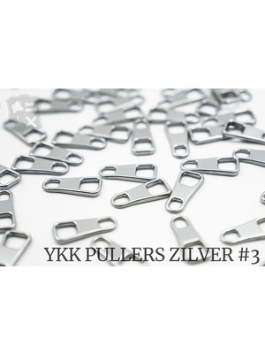 YKK Klassieke Zilveren YKK Rits Pullers, maat 3 (5 stuks)