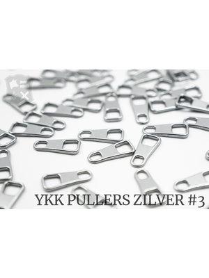 YKK Metaal Klassieke YKK Pullers #3, zilver (5 stuks)