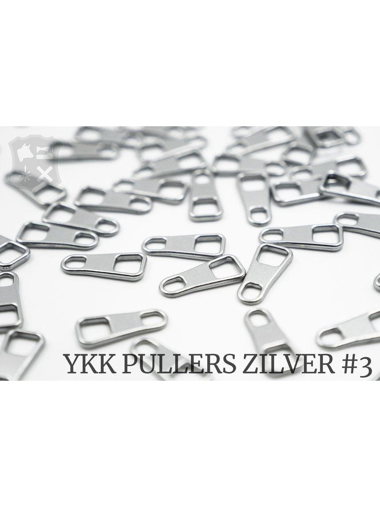 YKK Metaal Klassieke Zilveren YKK Rits Pullers, maat 3 (5 stuks)