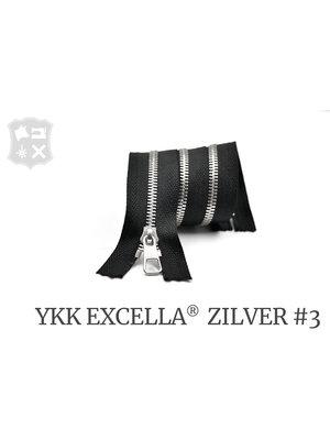 YKK Excella® YKK Excella Rits #3 zilver op maat (enkel) - (ZA19 - zwart 580)