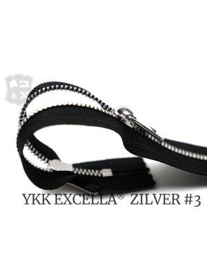 YKK Excella® YKK Excella Rits #3 zilver op maat (dubbel / head-to-head) - (ZA19 - zwart 580)