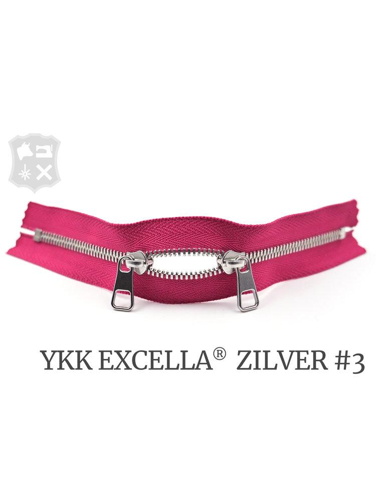 YKK Excella® YKK Excella Rits #3 zilver op maat (dubbel / head-to-head) - (R19 - Roze 354)